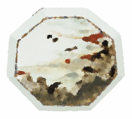 草白釉釉描金銀彩遠山夕陽図八角大皿